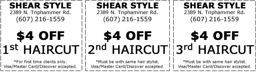 $4 off haircut at Shear Style Salon in Ithaca, NY