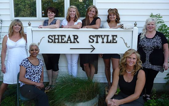 Shear Style hair salon front sign